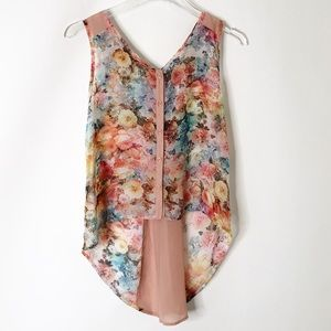 Band of Gypsies Floral High Low Tank Top